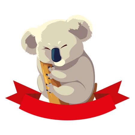 cute australian Koala on a tree on white background vector illustration design