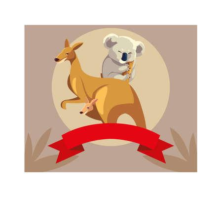 card with kangaroo and koala vector illustration design Illustration