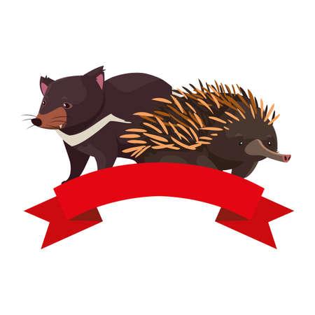 tasmanian devil and echidna on white background vector illustration design