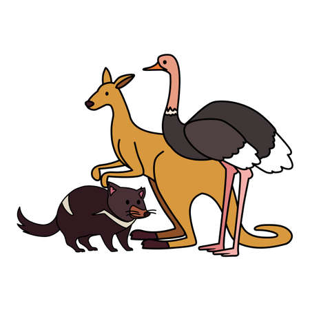 animals of australia on white background vector illustration design