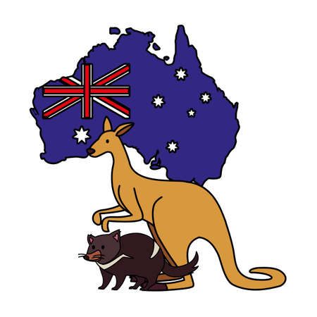 kangaroo and tasmanian devil with map of australia in the background vector illustration design