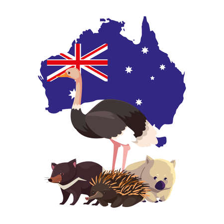 animals of australia with map of australia in the background vector illustration design
