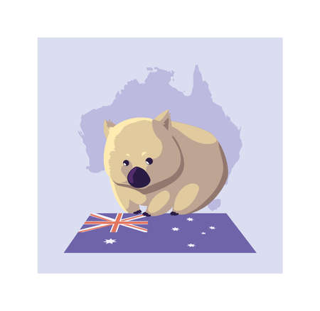 greeting card with australian wombat vector illustration design