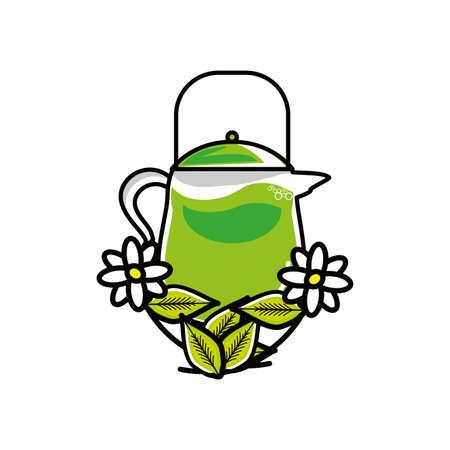 teapot kitchen with flowers chamomile tea vector illustration design Ilustrace