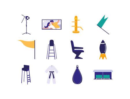 Movie icon set design, Cinema video film media entertainment show motion and presentation theme Vector illustration Illustration