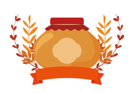 jar and autumn leaves design, Eat food restaurant menu dinner lunch cooking and meal theme Vector illustration