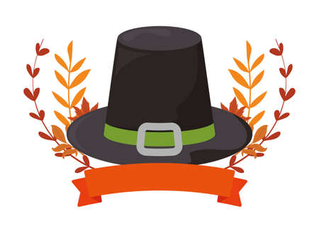Black hat and leaves of thanksgiving day design, Autumn season holiday greeting and traditional theme Vector illustration