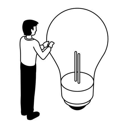 businessman with light bulb on white background vector illustration design Illustration