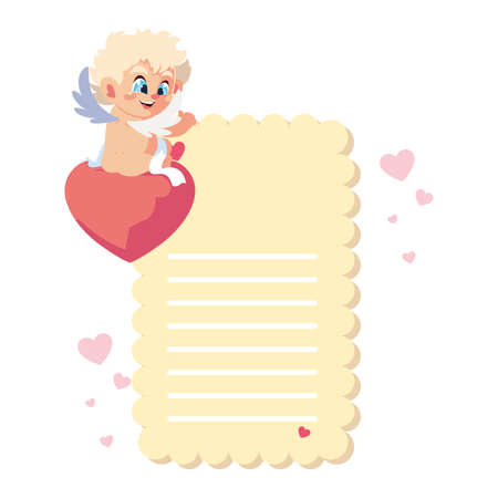 card valentines day with cupid angel , sheet to write vector illustration design