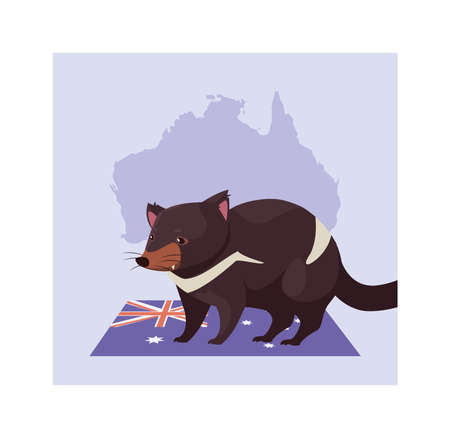 greeting card with australian tasmanian devil vector illustration design