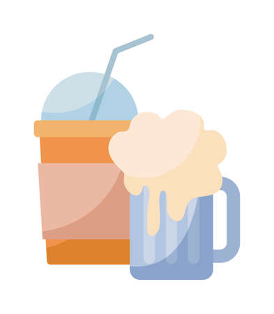 beer with milkshake isolated icon vector illustration design