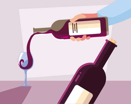 hands holding a bottle and glass of wine vector illustration design