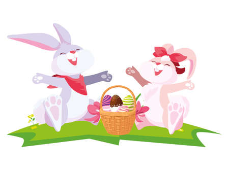 cute rabbits couple with eggs painted in basket vector illustration design 일러스트