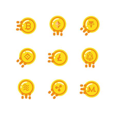 Coins set design of Cryptocurrency money currency exchange financial bank web internet market electronic finance and net theme Vector illustration Ilustração