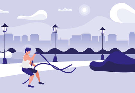 athletic man practicing exercice with elastics bands in the park vector illustration Ilustrace