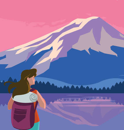 adventurous woman with travelbag in the snowscape vector illustration design Ilustrace