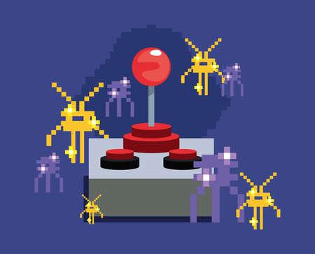 joystick control aliens arcade video game retro vector illustration design 矢量图像