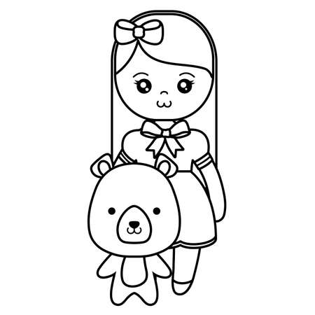 cute and little bear with girl vector illustration design 일러스트