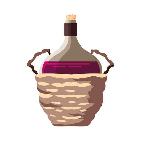 bottle of wine in wicker basket on white background vector illustration design