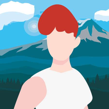 woman character mountains scene landscape vector illustration Ilustração