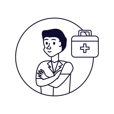 doctor professional with first aid kit vector illustration design Ilustração