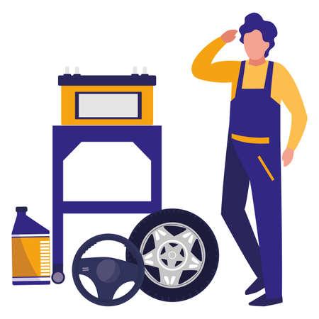 Travailleur mécanicien avec pneu voiture et batterie vector illustration design
