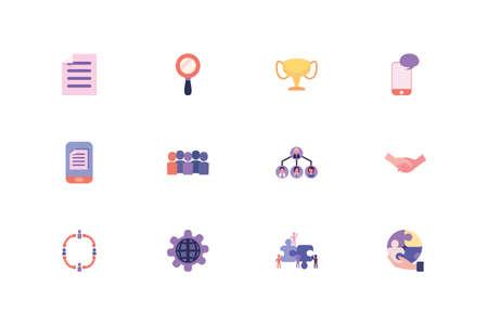 Business icon set design, Management workforce financial item corporate investment success technology and job theme Vector illustration Vektorgrafik
