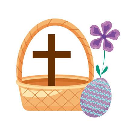 cross catholic in basket wicker with egg easter vector illustration design