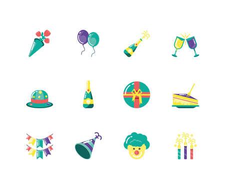 Icon set design, Party celebration event happy birthday holiday surprise anniversary and decorative theme Vector illustration Ilustração