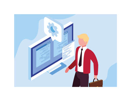 man working in front of computer screen vector illustration design Ilustrace