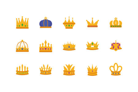 Crowns icon set design, Royal king queen luxury jewelry kingdom insignia emperor authority and coronation theme Vector illustration 向量圖像