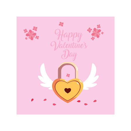 valentines day label with heart shaped padlock vector illustration design Çizim