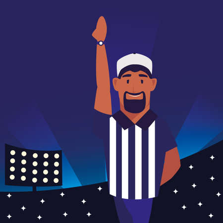american football referee with his hand up on stadium vector illustration design Ilustração