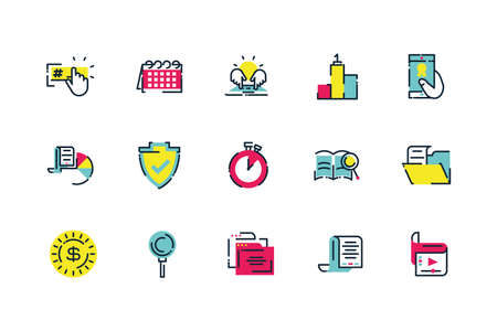 Icon set design, Digital marketing ecommerce shopping online strategy media and seo theme Vector illustration Illustration