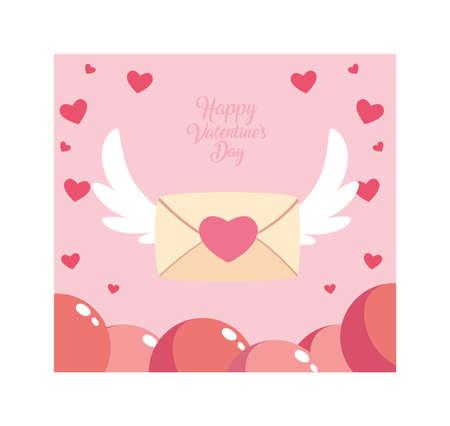 happy valentines day label with envelope, valentines letter vector illustration design Çizim