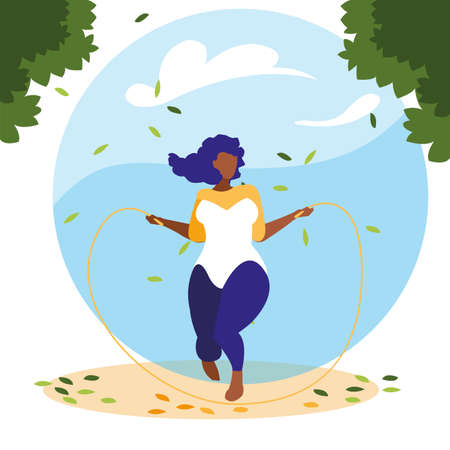 woman outdoors jumping rope with background landscape vector illustration design
