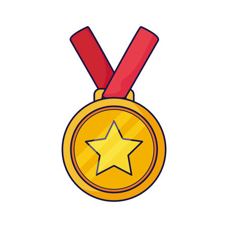 Gold medal design, Winner first position competition success sport best leadership compete and challenge theme Vector illustration