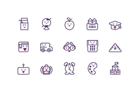 Icon set cartoons design, school expression cute character funny and emoticon theme Vector illustration  イラスト・ベクター素材