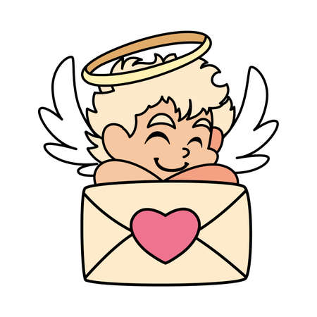cute cupid angel with a love letter in white background vector illustration design Çizim