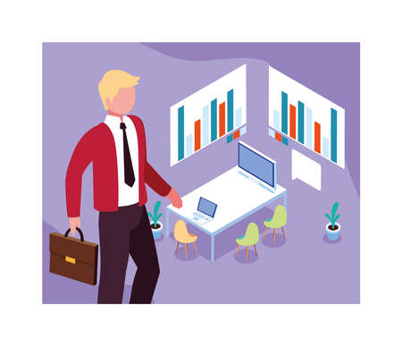 man working on a project, work office vector illustration design