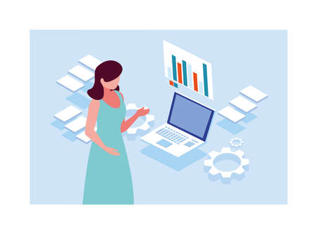 woman working in front of laptop vector illustration design Ilustrace