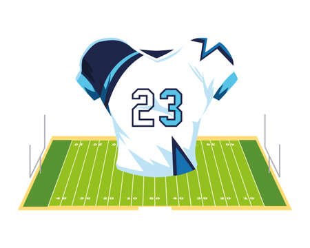 american football jersey, t-shirt sport on stadium grass vector illustration design