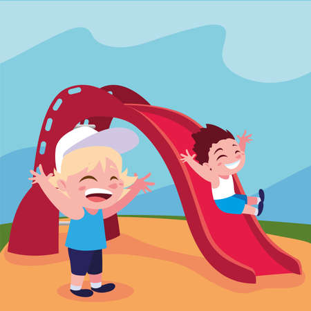 boys smiling and enjoying on slide vector illustration design