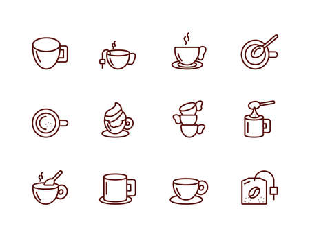 Coffee icon set design of time drink breakfast beverage shop morning store aroma and caffeine theme Vector illustration Standard-Bild - 139723129