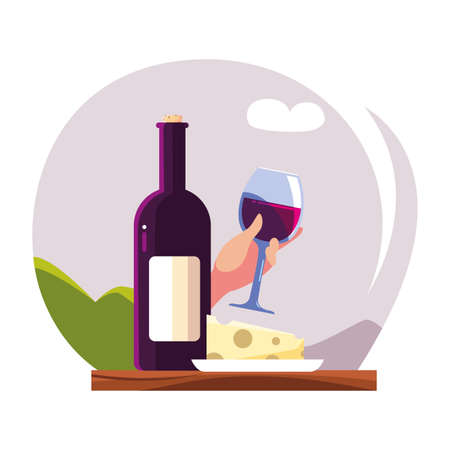 bottle and glass of wine with piece of cheese vector illustration design Illusztráció