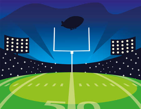 american football field with bright lights vector illustration design