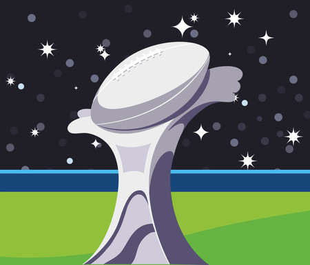 Trophy in front of granstand design, Super bowl american football sport hobby competition game training equipment tournement and play theme Vector illustration