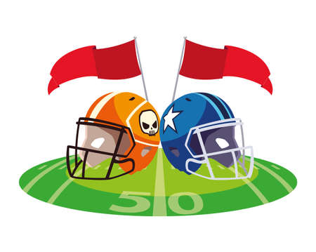 american football helmets on stadium grass vector illustration design