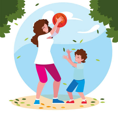 woman and son with background landscape vector illustration design