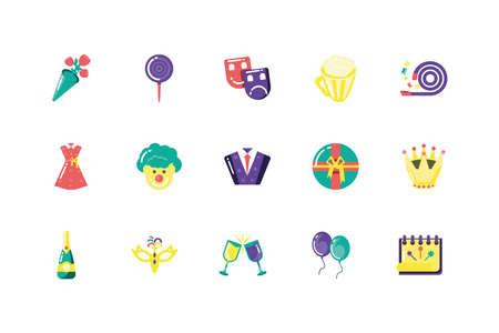 Icon set design, Party celebration event happy birthday holiday surprise anniversary and decorative theme Vector illustration Standard-Bild - 139727331